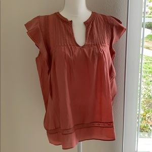 LUCKY BRAND Ruffle Notch Neck Top